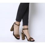 Office Hyena Platform Two Part Sandal Heels Leopard Pony Effect