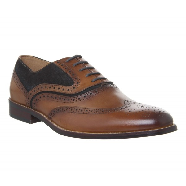 Office Infuse Brogues Tan Choc Suede Leather