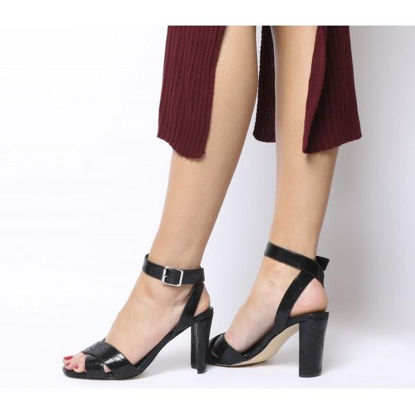 Office Micha Sandal Heels Black Crackle