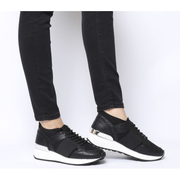 Office Fella Glam Lace Up Runners Black Snake