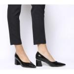 Office Minute Block Heel Point Court Heels Black Patent Crinkle