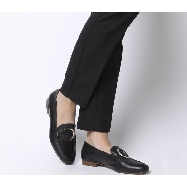Office Fainthearted Ring Detail Loafers Black Leather W Tortoise Shell