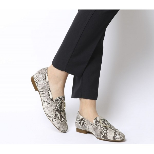 Office Fainthearted Ring Detail Loafers Natural Snake Leather W Snake Ring