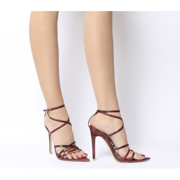 Ego Kaia Strappy Heels Red Snake