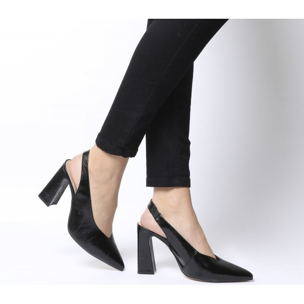 Office Hihi Slingback Point Heels Black Groucho Leather