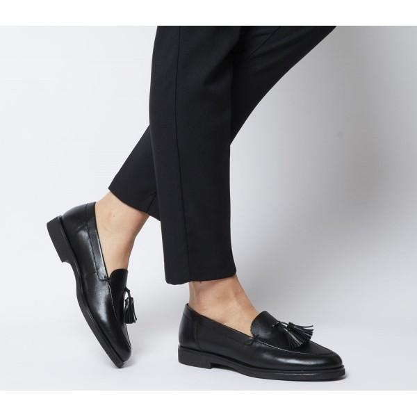 Office Fair Tassel Loafers Black Leather