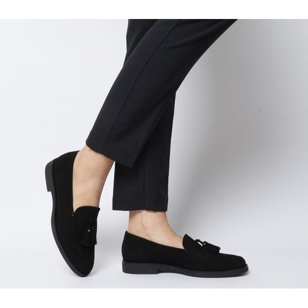 Office Fair Tassel Loafers Black Suede
