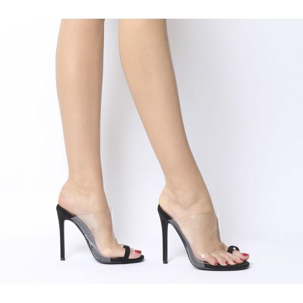Ego Shape Toe Loop Heels Black Transparent