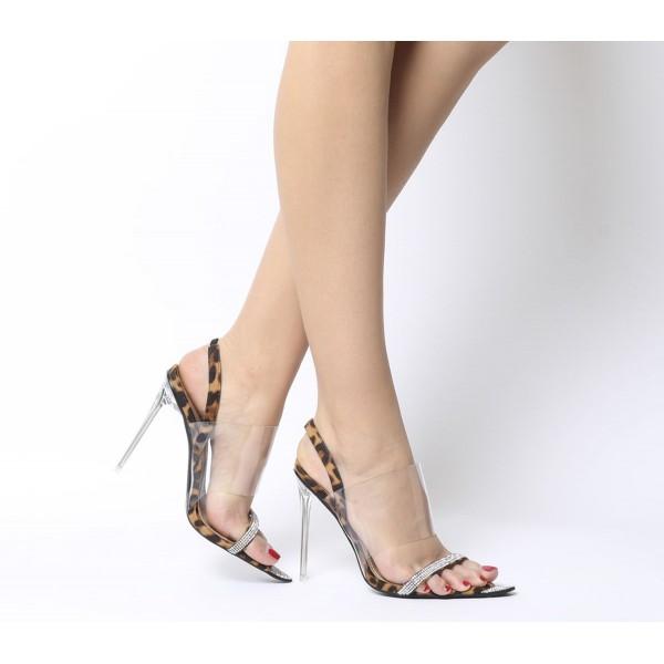 Ego Rina Transparent Heels Tan Leopard