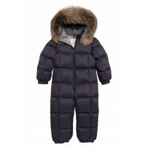 Jean Down Snowsuit with Genuine Fox Fur Trim