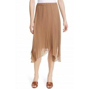 Asymmetrical Hem Pleated Midi Skirt