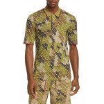 Thorney Monogram Print Tipped Merino Wool Short Sleeve Polo