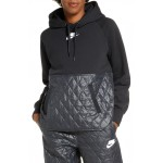 Sportswear Logo Mixed Media Quilted Hoodie