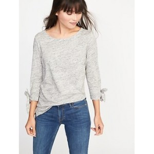 Relaxed Tie-Sleeve Boat-Neck Tee for Women
