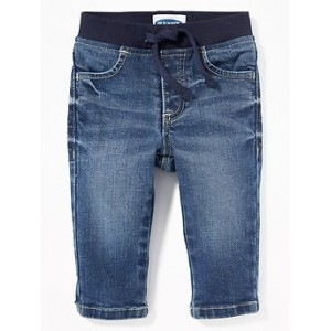 Rib-Knit-Waist Pull-On Jeans for Baby Hi, I'm New