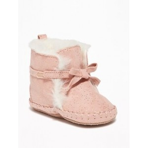 Faux-Suede Sparkle Booties for Baby Hi, I'm New