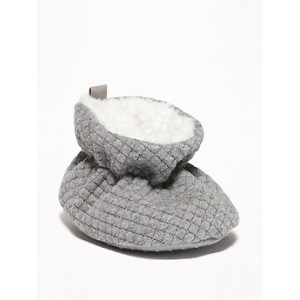 Quilted Sherpa-Lined Booties for Baby Hi, I'm New