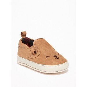 Faux-Suede Bear-Critter Slip-Ons for Baby Hi, I'm New