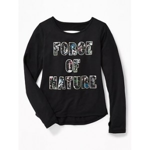 Go-Dry Cut-Out Back Graphic Tee for Girls 30% Off Taken at Checkout