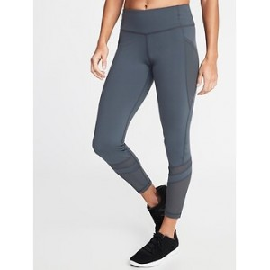 Mid-Rise 7/8-Length Mesh-Panel Compression Leggings for Women 30% Off Taken at Checkout
