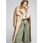 Camel double collar long trench coat