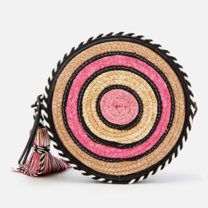Rebecca Minkoff Womens Straw Circle Cross Body Bag - Pink Multi