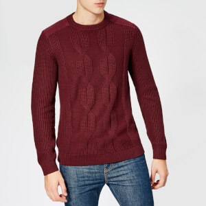 Ted Baker Mens Laichi Cable Crew Neck Knitted Jumper - Dark Red