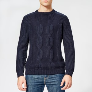 Ted Baker Mens Laichi Cable Crew Neck Knitted Jumper - Navy