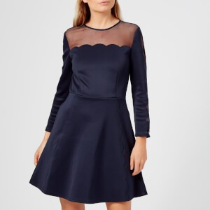 Ted Baker Womens Kikoh Mesh Panelled Skater Dress - Navy