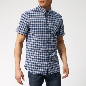 Lacoste Mens Oxford Check Short Sleeve Shirt - Inkwell/Iberis