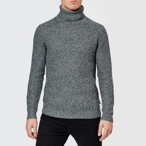 Ted Baker Mens Singo Chunky Roll Neck Knitted Jumper - Charcoal