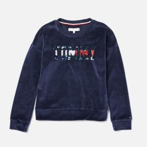 Tommy Hilfiger Girls Sequin Velour Logo Sweatshirt - Black Iris