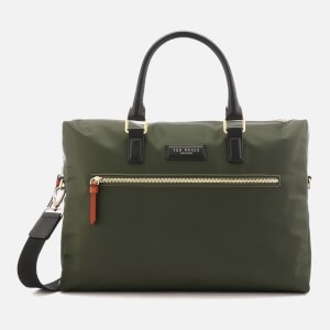 Ted Baker Mens Dancer Satin Nylon Document Bag - Olive