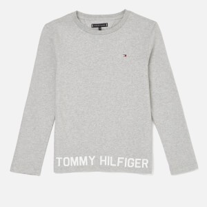 Tommy Hilfiger Boys Hem Logo Long Sleeve T-Shirt - Grey Heather
