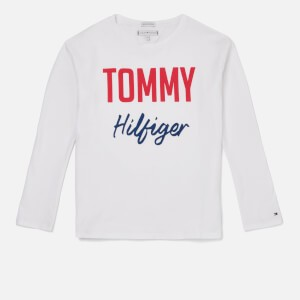 Tommy Hilfiger Girls Essential Two Colour Long Sleeve T-Shirt - Bright White