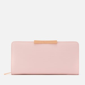 Ted Baker Womens Flow Faceted Bow Zip Around Matinee Purse - Light Pink