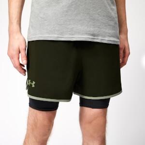 Under Armour Mens Qualifier 2-In-1 Shorts - Artillery Green