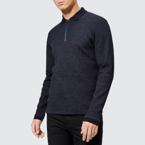 Ted Baker Mens Caoco Zip Polo Neck Jumper - Navy