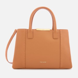 Ted Baker Womens Colesa Soft Grain Faceted Bar Small Tote Bag - Tan