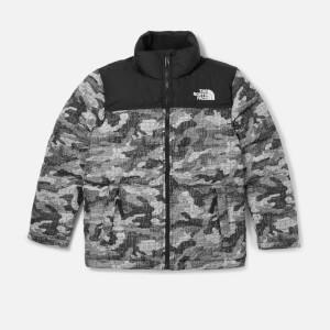 The North Face Boys Nuptse Down Jacket - TNF Black Textured Camo Print