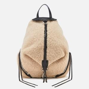 Rebecca Minkoff Womens Shearling Julian Side Zip Backpack - Natural