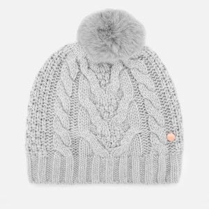 Ted Baker Womens Quirsa Cable Knit Pom Hat - Light Grey