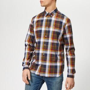 Lacoste Mens Classic Plaid Poplin Shirt - Multi - Khaki/Burgundy/Navy