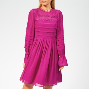 Ted Baker Womens Arrebel Lace Trim Volume Sleeve Dress - Bright-Pink
