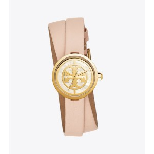 REVA DOUBLE-WRAP WATCH, NUDE LEATHER/GOLD TONE, 28 MM