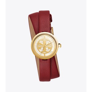REVA DOUBLE-WRAP WATCH, RED LEATHER/GOLD-TONE, 29 MM