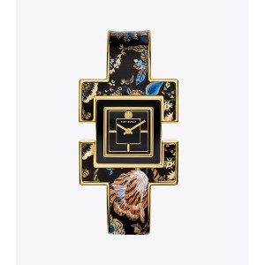 T BANGLE WATCH, HAPPY TIMES FLORAL/GOLD-TONE/BLACK, 25 MM