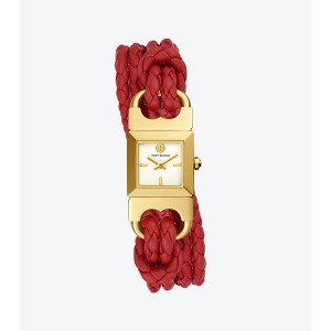 DOUBLE T LINK BRAIDED WATCH, RED LEATHER/GOLD-TONE, 18 MM