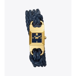 DOUBLE T LINK BRAIDED WATCH, BLUE LEATHER/GOLD-TONE, 18 MM