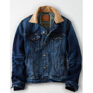 AE Dark Wash Corduroy Collar Jean Jacket